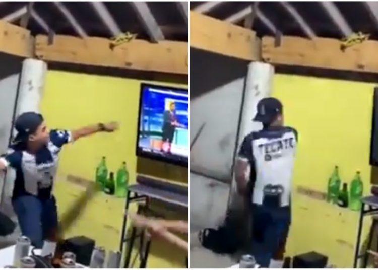 VIDEO: Aficionado de Rayados rompe su pantalla de un botellazo tras derrota de su equipo en repechaje