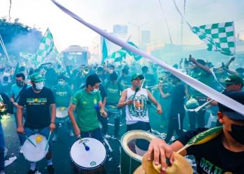 El León llegó acompañado al estadio previo al partido ante Puebla